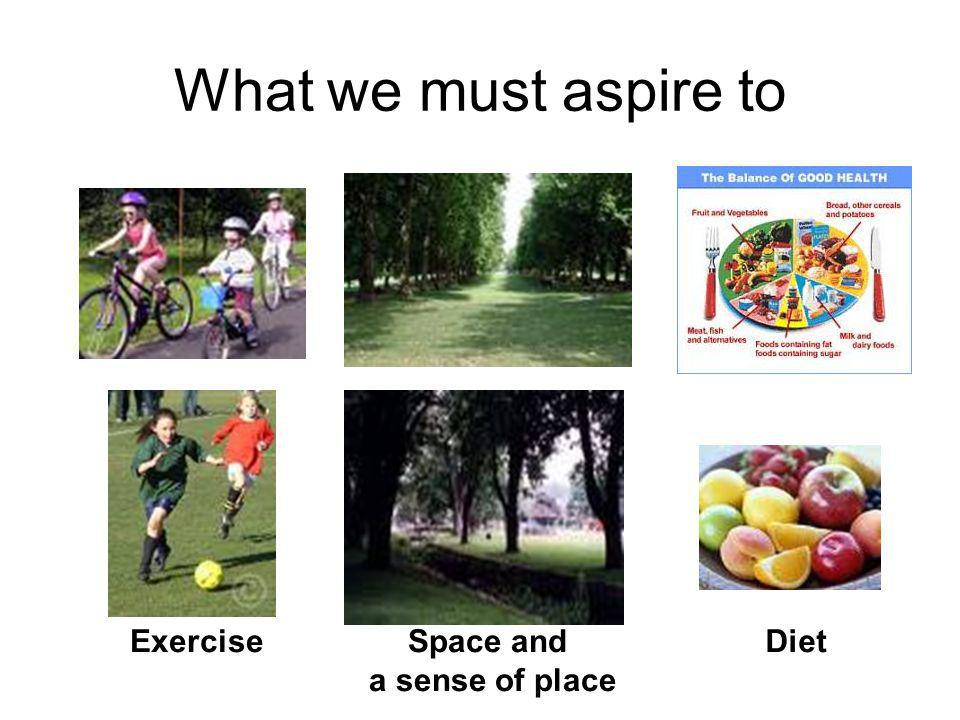 What we must aspire to Exercise Space and a sense of place Diet