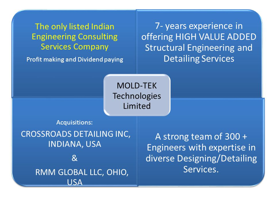 The only listed Indian Engineering Consulting Services Company Profit making and Dividend paying 7- years experience in offering HIGH VALUE ADDED Stru