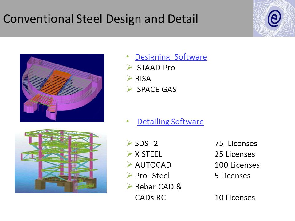 Designing Software STAAD Pro RISA SPACE GAS Detailing Software SDS -2 75 Licenses X STEEL 25 Licenses AUTOCAD 100 Licenses Pro- Steel 5 Licenses Rebar