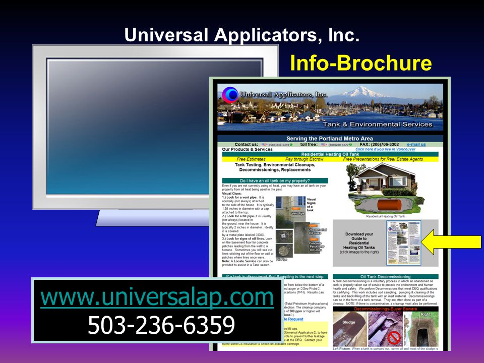 Info-Brochure www.universalap.com 503-236-6359 Universal Applicators, Inc.