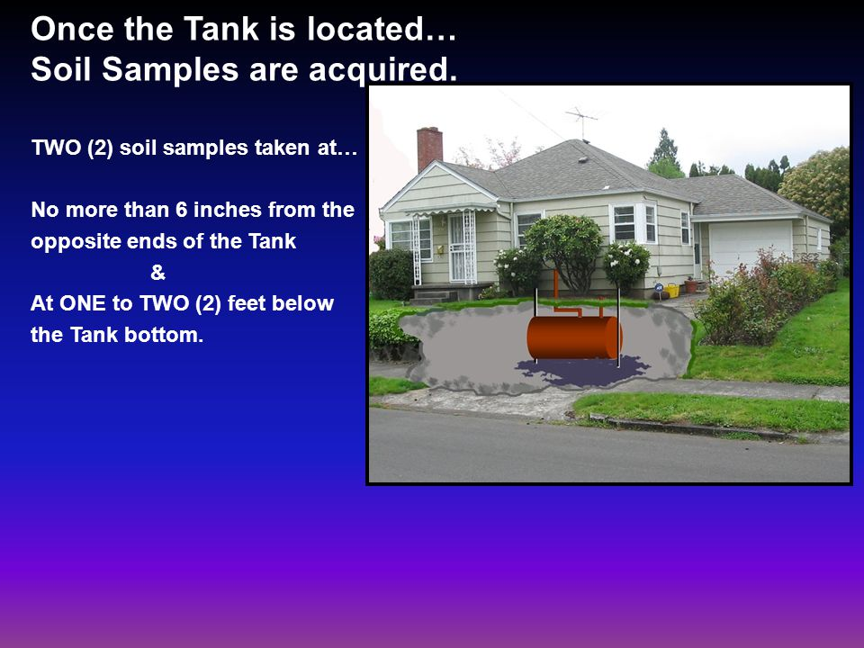 Once the Tank is located… Soil Samples are acquired.