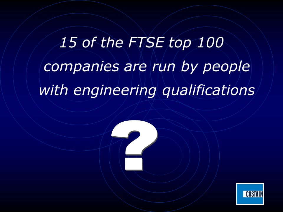 15 of the FTSE top 100 companies are run by people with engineering qualifications