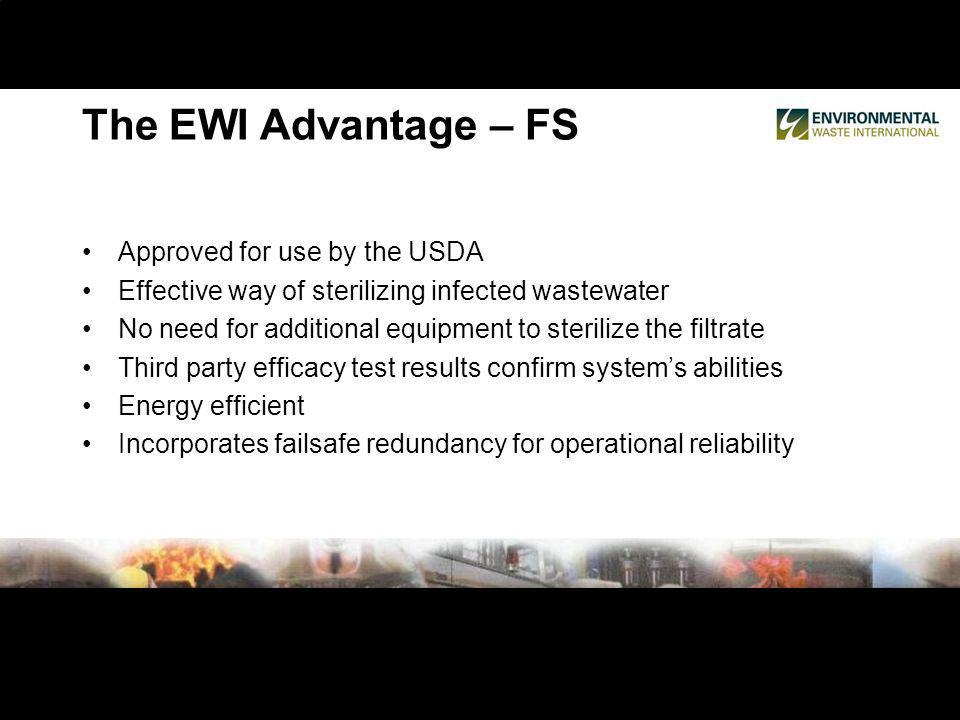 Approved for use by the USDA Effective way of sterilizing infected wastewater No need for additional equipment to sterilize the filtrate Third party efficacy test results confirm systems abilities Energy efficient Incorporates failsafe redundancy for operational reliability The EWI Advantage – FS