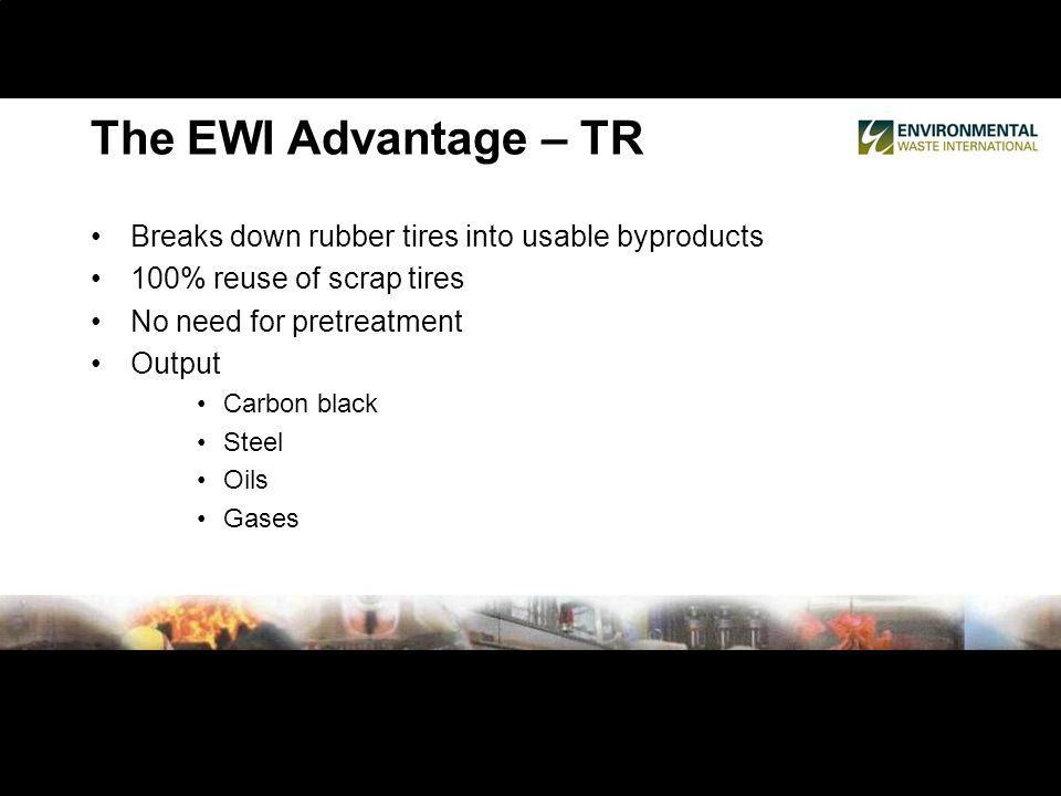 Breaks down rubber tires into usable byproducts 100% reuse of scrap tires No need for pretreatment Output Carbon black Steel Oils Gases The EWI Advant