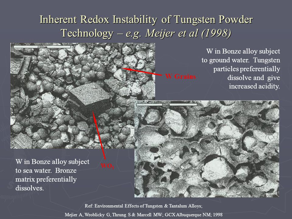 Inherent Redox Instability of Tungsten Powder Technology – e.g. Meijer et al (1998) W in Bonze alloy subject to sea water. Bronze matrix preferentiall