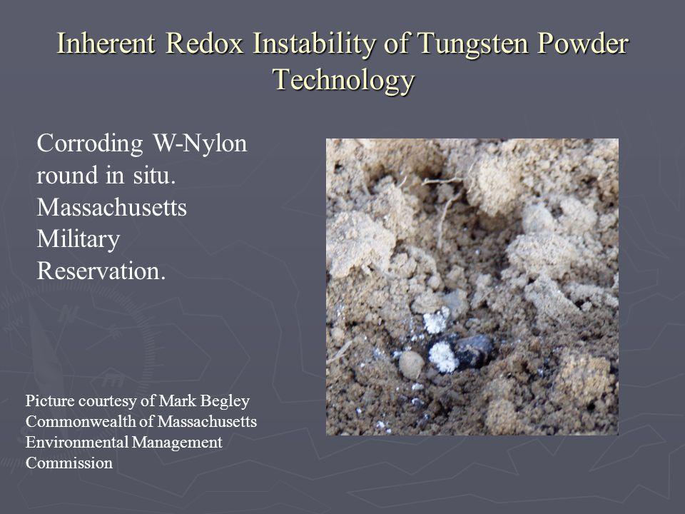 Inherent Redox Instability of Tungsten Powder Technology Corroding W-Nylon round in situ.