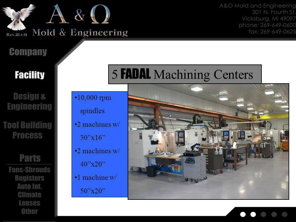 400 per minute Table size= 65x35 Spindle Rate= 10,000 1 Large FADAL 3 axis High Speed Milling Center