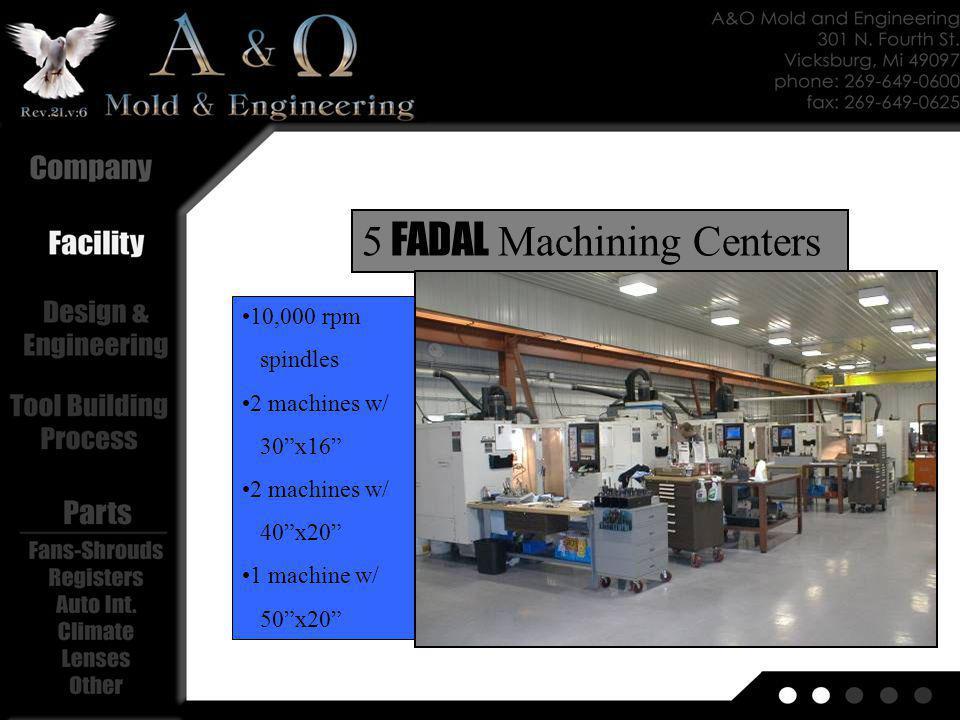 10,000 rpm spindles 2 machines w/ 30x16 2 machines w/ 40x20 1 machine w/ 50x20 5 FADAL Machining Centers