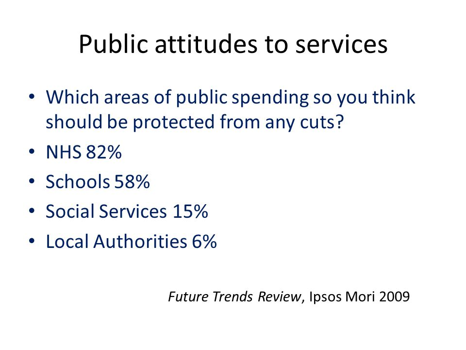 Public attitudes to services Which areas of public spending so you think should be protected from any cuts.