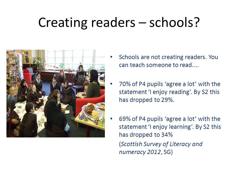 Creating readers – schools. Schools are not creating readers.