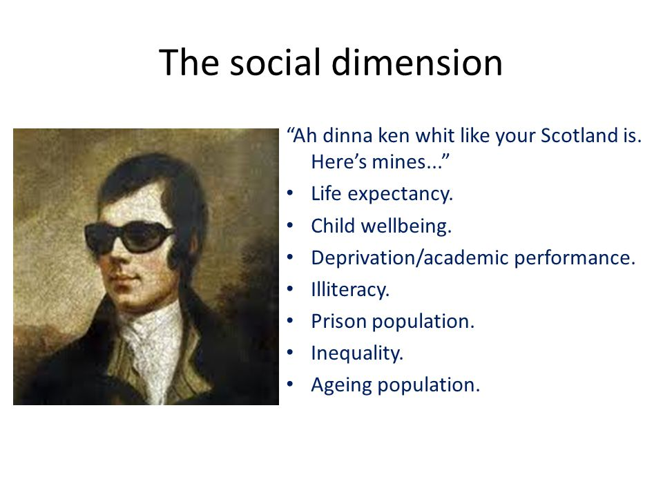 The social dimension Ah dinna ken whit like your Scotland is.