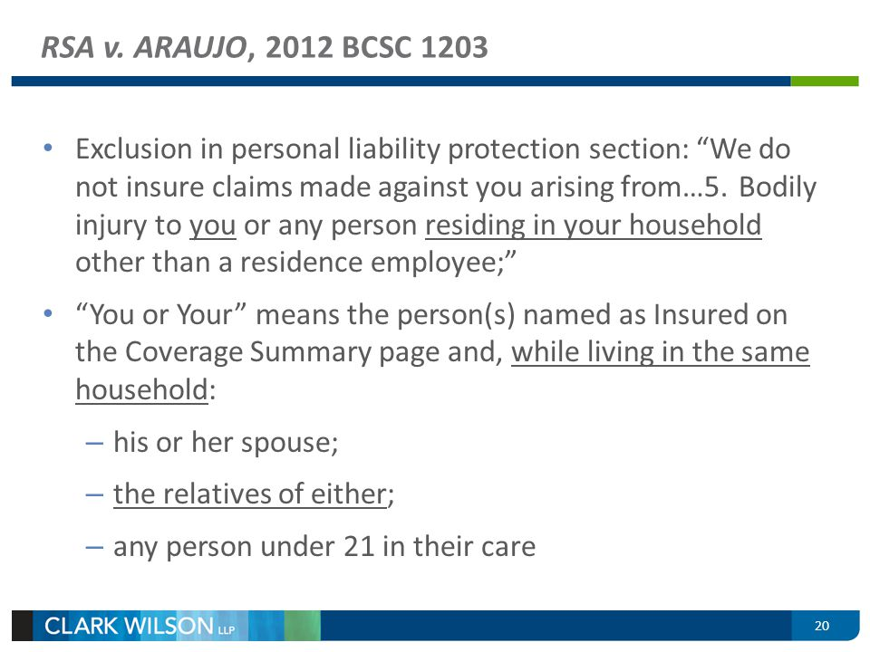 Exclusion in personal liability protection section: We do not insure claims made against you arising from…5.Bodily injury to you or any person residin