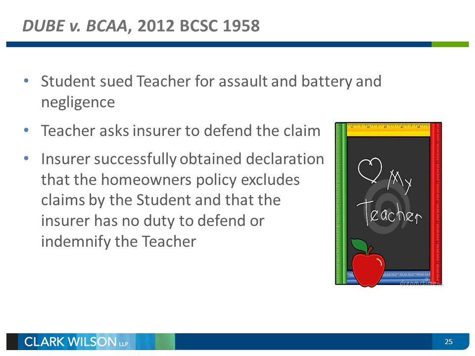 Student sued Teacher for assault and battery and negligence Teacher asks insurer to defend the claim Insurer successfully obtained declaration that th