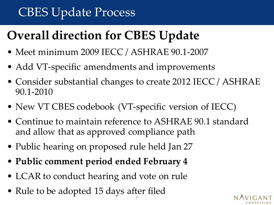 8 CBES Update Process Where are Commercial Codes Headed.