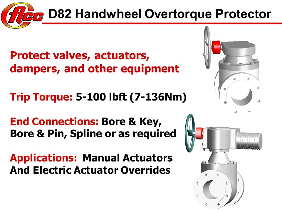 PREVENT VALVE DAMAGE Trip Torque: 30-250 lbft (40-340Nm) End Connections: 2 AWWA nut and socket Applications: Butterfly, Gate, Resilient Seat Gate, Ball and Other Valves.