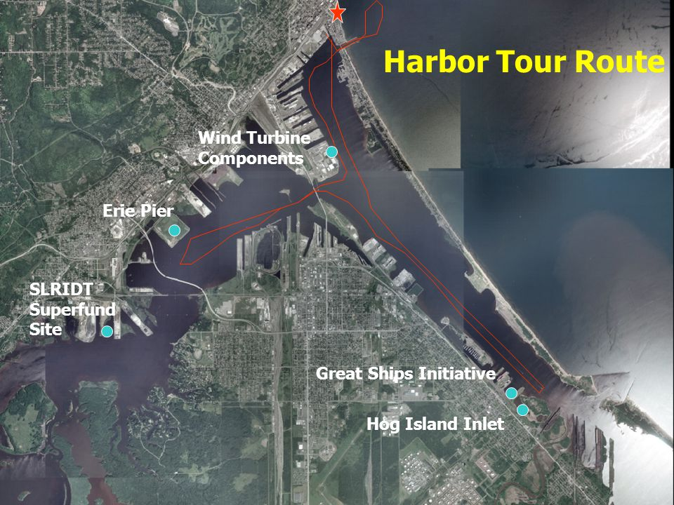 SLRIDT Superfund Site Erie Pier Wind Turbine Components Great Ships Initiative Hog Island Inlet Harbor Tour Route