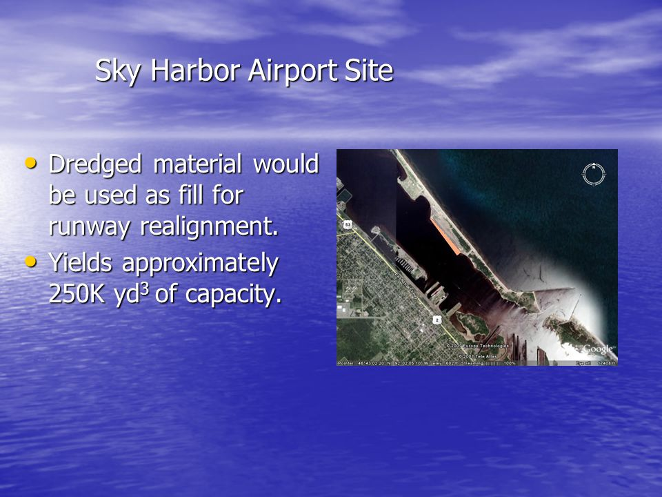 Sky Harbor Airport Site Dredged material would be used as fill for runway realignment.