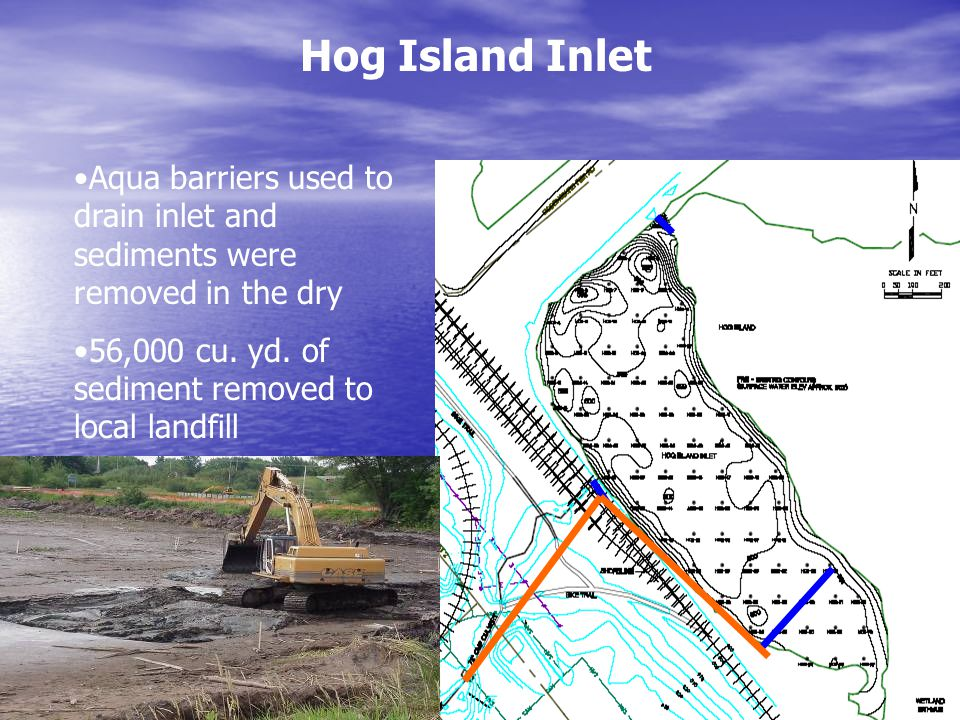 Hog Island Inlet Aqua barriers used to drain inlet and sediments were removed in the dry 56,000 cu.