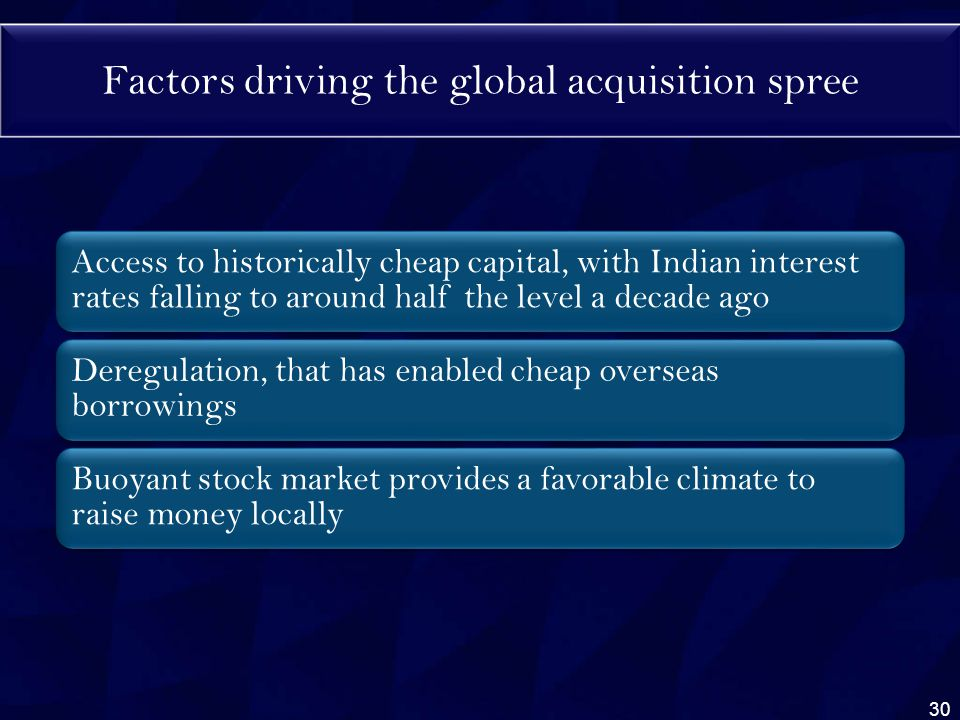 Factors driving the global acquisition spree Access to historically cheap capital, with Indian interest rates falling to around half the level a decade ago Deregulation, that has enabled cheap overseas borrowings Buoyant stock market provides a favorable climate to raise money locally 30