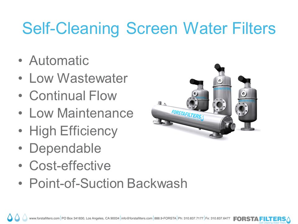 Self-Cleaning Screen Water Filters Automatic Low Wastewater Continual Flow Low Maintenance High Efficiency Dependable Cost-effective Point-of-Suction Backwash