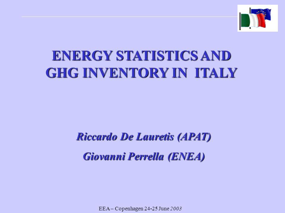 EEA – Copenhagen 24-25 June 2003 ENERGY STATISTICS AND GHG INVENTORY IN ITALY Riccardo De Lauretis (APAT) Giovanni Perrella (ENEA)