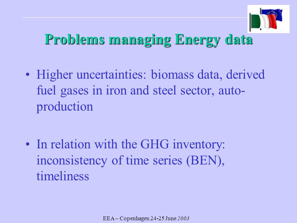 EEA – Copenhagen June 2003 Problems managing Energy data Higher uncertainties: biomass data, derived fuel gases in iron and steel sector, auto- production In relation with the GHG inventory: inconsistency of time series (BEN), timeliness