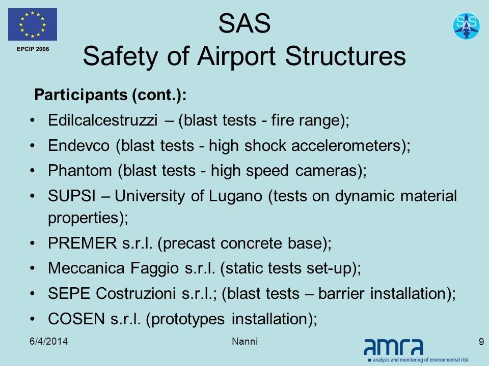 6/4/2014Nanni 9 SAS Safety of Airport Structures Participants (cont.): Edilcalcestruzzi – (blast tests - fire range); Endevco (blast tests - high shoc