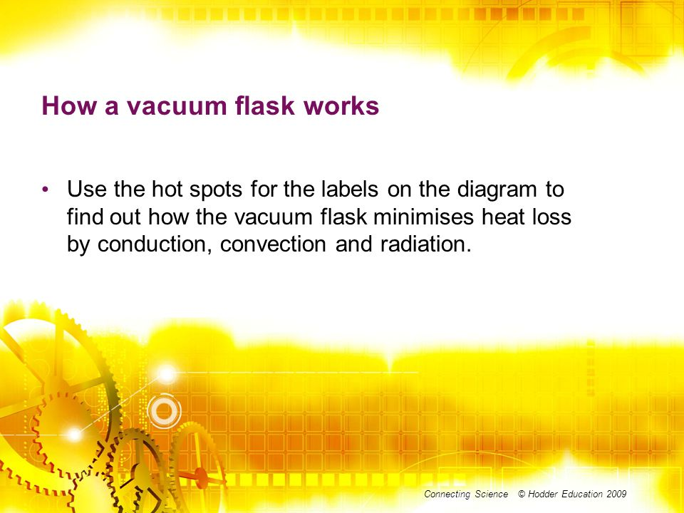 DIAGRAM Connecting Science © Hodder Education 2009 How a vacuum flask works Use the hot spots for the labels on the diagram to find out how the vacuum flask minimises heat loss by conduction, convection and radiation.