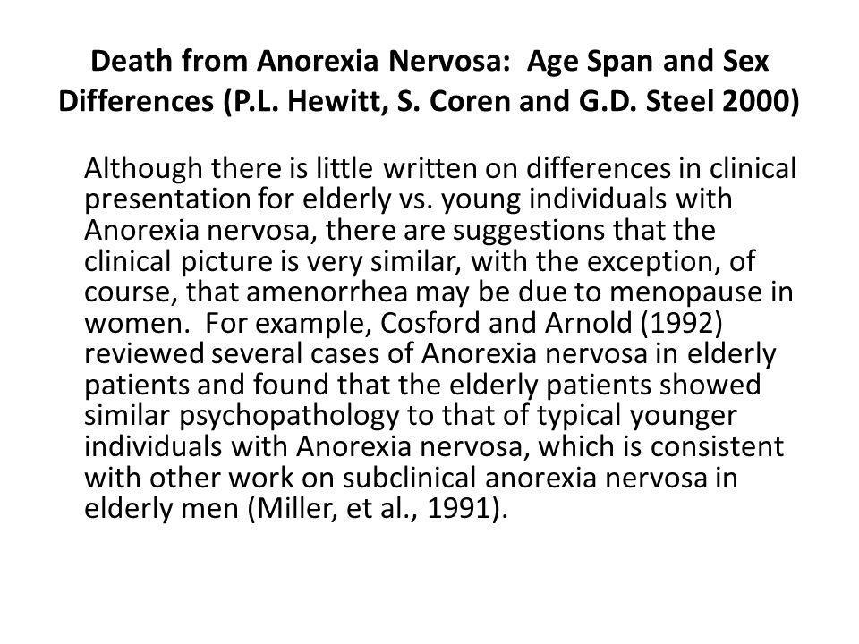 Death from Anorexia Nervosa: Age Span and Sex Differences (P.L.