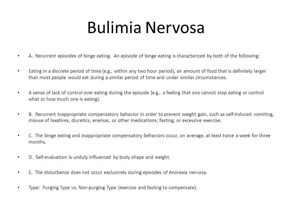 Bulimia Nervosa A.Recurrent episodes of binge eating.