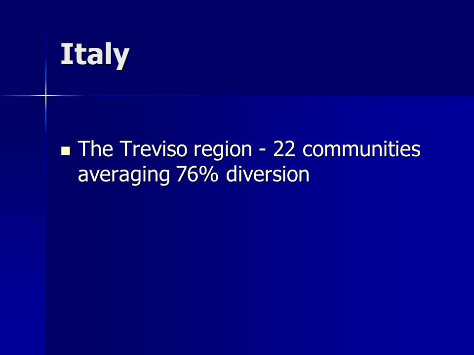 Italy The Treviso region - 22 communities averaging 76% diversion The Treviso region - 22 communities averaging 76% diversion