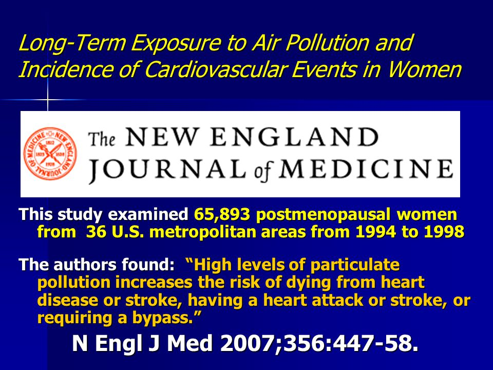 Long-Term Exposure to Air Pollution and Incidence of Cardiovascular Events in Women This study examined 65,893 postmenopausal women from 36 U.S. metro