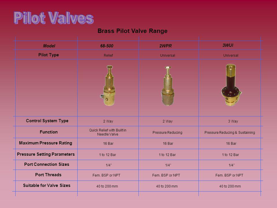 Brass Pilot Valve Range 3WUI Universal 3 Way Pressure Reducing & Sustaining 16 Bar 1 to 12 Bar 1/4 Fem.