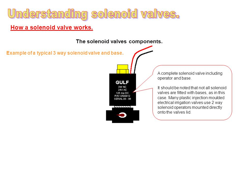 How a solenoid valve works.The solenoid valves components.