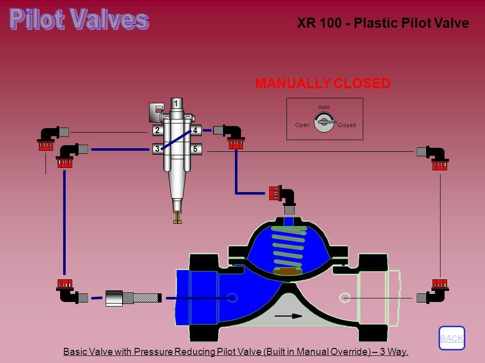 XR 100 - Plastic Pilot Valve Basic Valve with Pressure Reducing Pilot Valve (Built in Manual Override) – 3 Way.