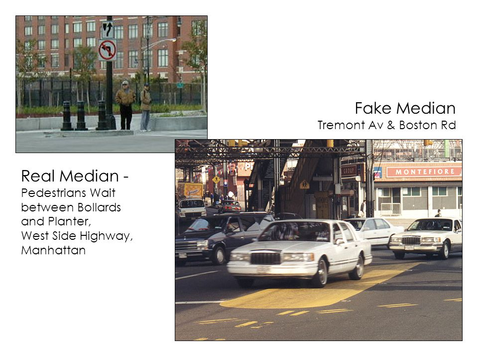 Fake Median Tremont Av & Boston Rd Real Median - Pedestrians Wait between Bollards and Planter, West Side Highway, Manhattan