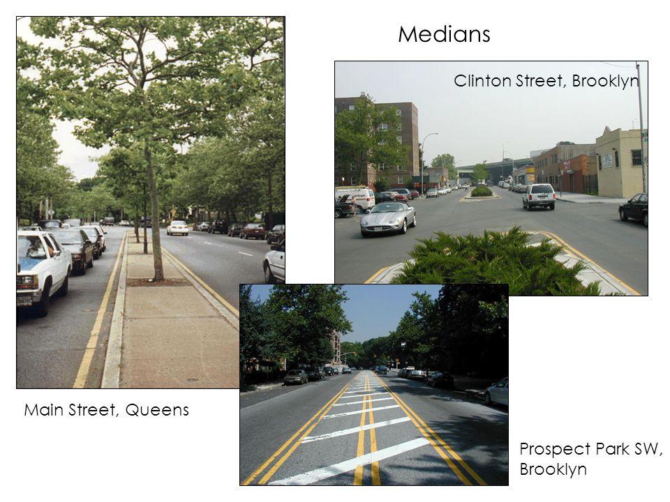 Medians Main Street, Queens Clinton Street, Brooklyn Prospect Park SW, Brooklyn