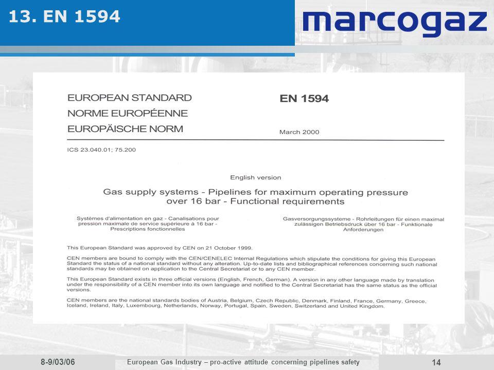 8-9/03/06 European Gas Industry – pro-active attitude concerning pipelines safety 14 13. EN 1594