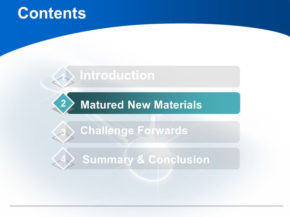 Contents Introduction Matured New Materials Challenge Forwards Summary & Conclusion 1 2 3 4