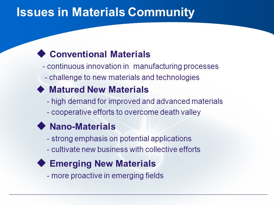 Issues in Materials Community Conventional Materials - continuous innovation in manufacturing processes - challenge to new materials and technologies Matured New Materials - high demand for improved and advanced materials - cooperative efforts to overcome death valley Nano-Materials - strong emphasis on potential applications - cultivate new business with collective efforts Emerging New Materials - more proactive in emerging fields