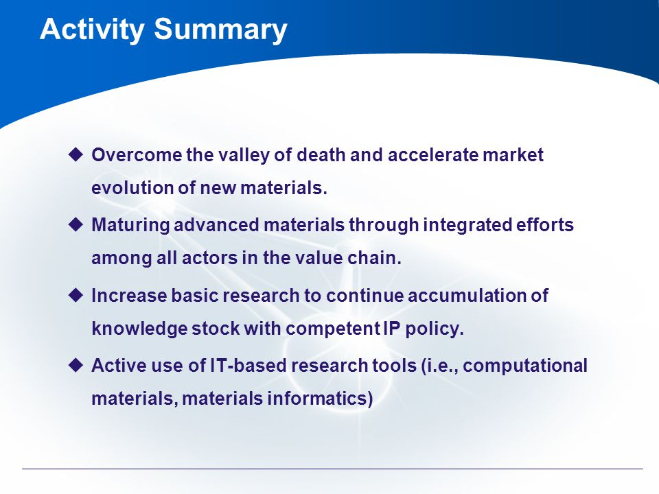 Activity Summary Overcome the valley of death and accelerate market evolution of new materials.