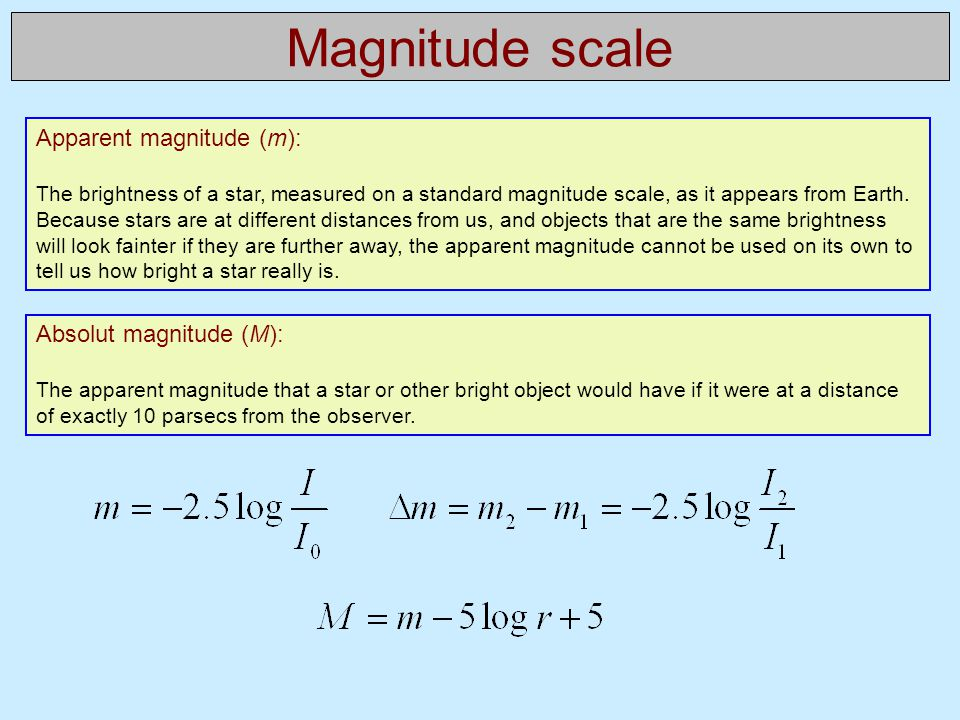 Magnitude scale Apparent magnitude (m): The brightness of a star, measured on a standard magnitude scale, as it appears from Earth. Because stars are