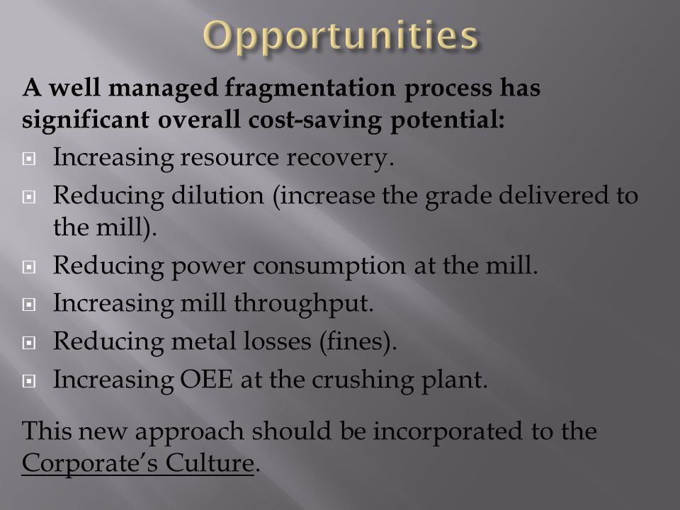 A well managed fragmentation process has significant overall cost-saving potential: Increasing resource recovery.
