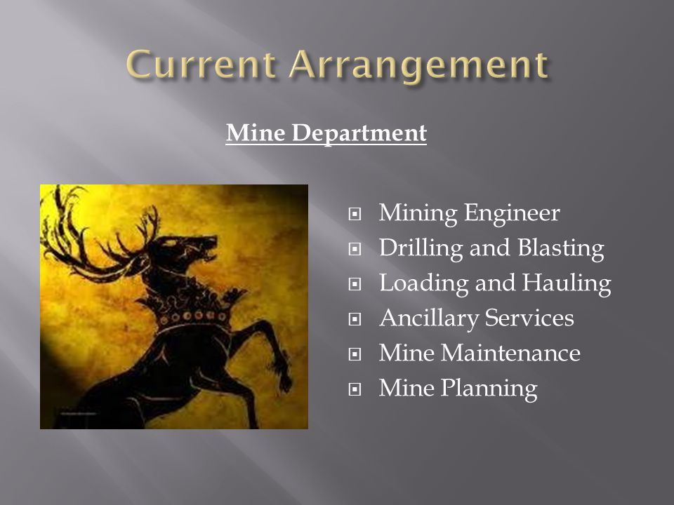 Mine Department Mining Engineer Drilling and Blasting Loading and Hauling Ancillary Services Mine Maintenance Mine Planning