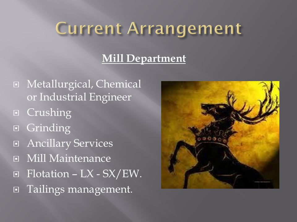 Mill Department Metallurgical, Chemical or Industrial Engineer Crushing Grinding Ancillary Services Mill Maintenance Flotation – LX - SX/EW.