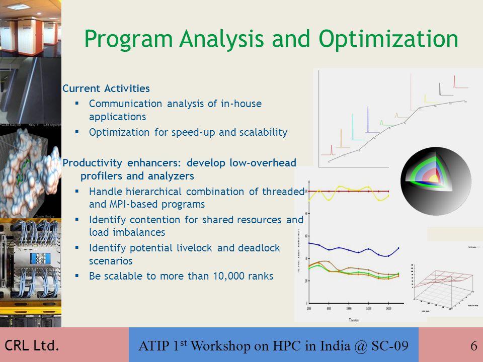 ATIP 1 st Workshop on HPC in India @ SC-0917 The Way Forward… CRL Ltd Thank You