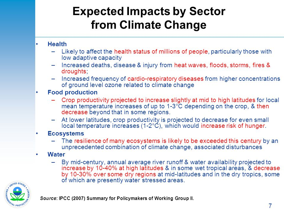 7 Expected Impacts by Sector from Climate Change Health –Likely to affect the health status of millions of people, particularly those with low adaptiv