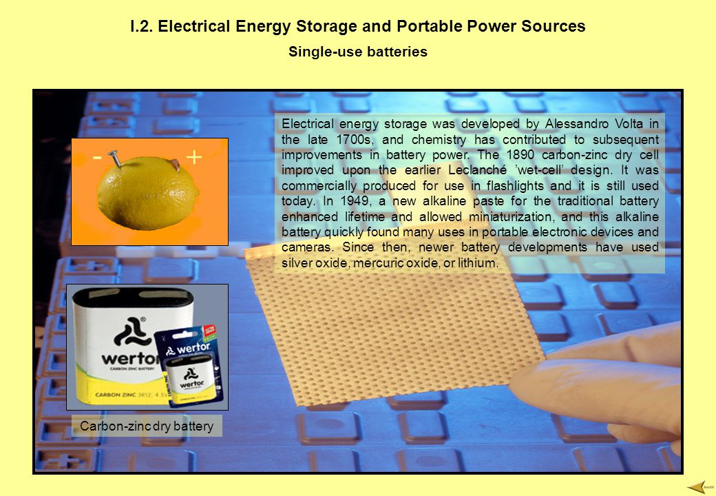 I.2. Electrical Energy Storage and Portable Power Sources Single-use batteries Electrical energy storage was developed by Alessandro Volta in the late