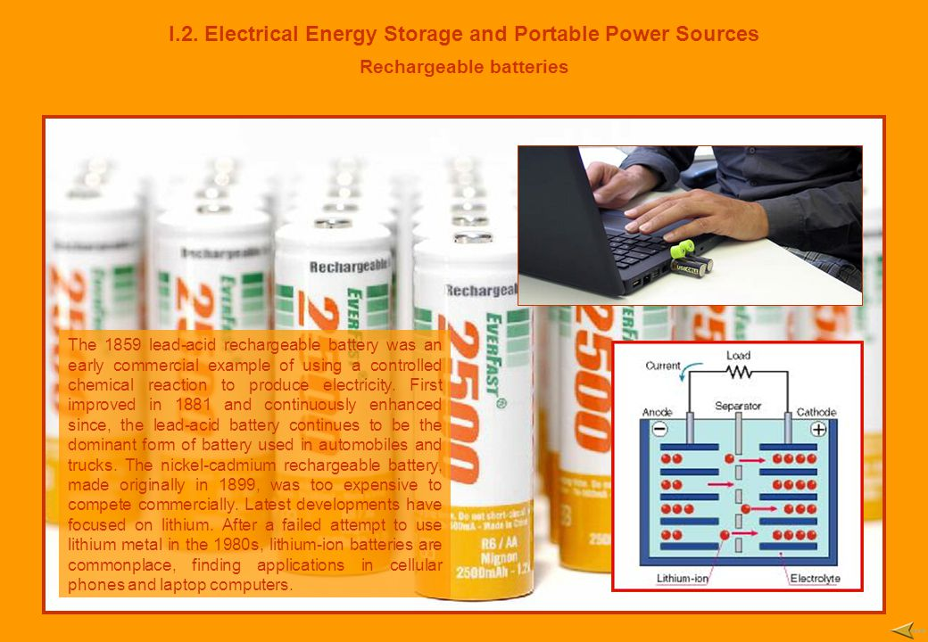 I.2. Electrical Energy Storage and Portable Power Sources Rechargeable batteries The 1859 lead-acid rechargeable battery was an early commercial examp