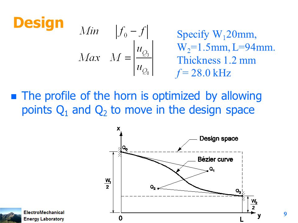 9 Design n The profile of the horn is optimized by allowing points Q 1 and Q 2 to move in the design space Specify W 1 20mm, W 2 =1.5mm, L=94mm.